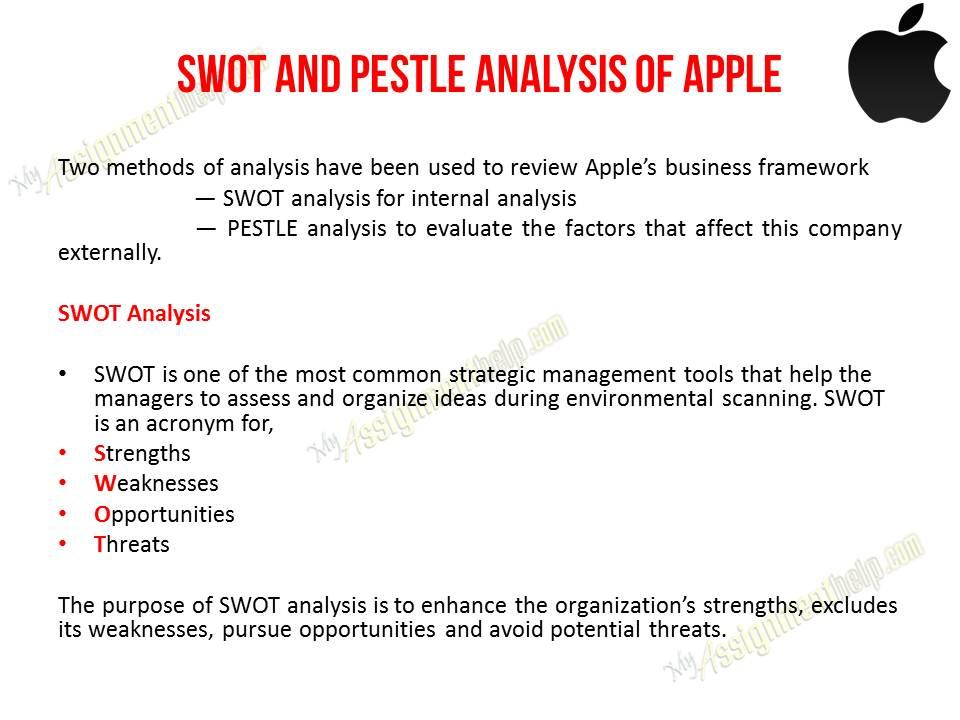 apples swot analysis [online] available at: [accessed 4 may 2013] term paper ware house, nd apple and porter's five factors [online] available at:.
