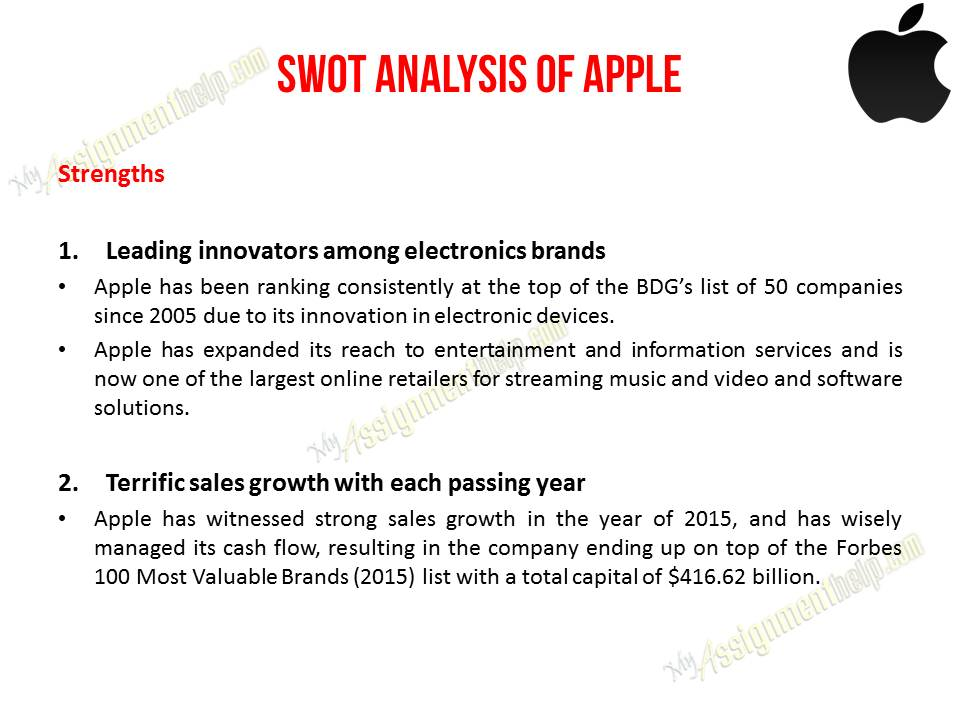 swot analysis for apple inc Swot analysis on apple inc annual report 10-k can be a good reference to analyze the corporate with swot system to understand the strengths, weakness, opportunities, and threats in apple inc whether this company is appropriate to invest in the future or not.